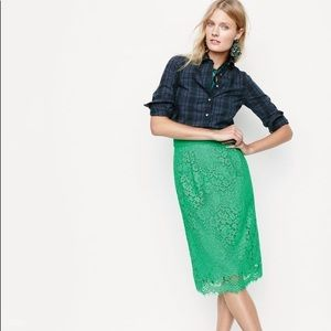 J. Crew Pintucked pencil skirt in lace, Size 0